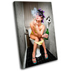 Smoking Girl Toilet Urban SINGLE CANVAS WALL ART Picture Print VA