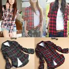 New Flannel Casual Plaids Checks Button Down Lapel Neck Women Blouse Shirt Tops