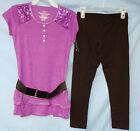 FADED GLORY S/S PURPLE HEATHER Knit Top w/Sequins & Leggings Set GIRLSIZES NWT