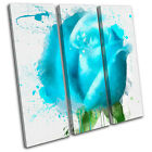 Blue Rose Floral TREBLE CANVAS WALL ART Picture Print VA