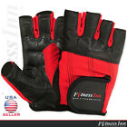 Weight Lifting Gloves Fitness Gloves Gym Training Leather Velcro Strap Black/Red