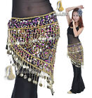 New Belly Dance Costume Crocheted Hip Scarf Belt Sequins & Golden Coins wrap