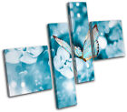 Blue Butterfly Tranquil Animals MULTI CANVAS WALL ART Picture Print VA