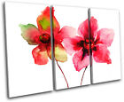 Red Flowers Watercolour Floral TREBLE CANVAS WALL ART Picture Print VA