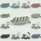 Rhinestone Czech Crystal Spacer Big Hole Charm Beads Findings Fit Bracelet 10MM