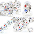 Wholesale Red White Blue Crystal Ribbons USA Loose Beads Fit EP Charms Bracelet