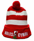 MENS WOMENS BOYS GIRLS WELSH WALES CYMRU RED AND WHITE BOBBLE BEANIE STRIPED HAT