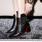 Women Pointed Toe Chic Buckle Strap Gothic Zip Leather Low Heel Ankle Boot Shoes