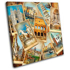Italy Collage Vintage SINGLE CANVAS WALL ART Picture Print VA