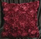 Sa202a Deep Red 3D Flower Taffeta Satin Cushion Cover/Pillow Case*Custom Size*