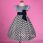 Grey Striped Satin Dress Flower Girl Wedding Party Easter Kid Size 3-9 Years 244