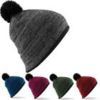 Mens and Womens Unisex Bobble Beanie Hat Two Tone Snowboarding Skiing BNWT