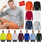Hanes Mens Tagless 100% Cotton Long Sleeve T-Shirt with a Pocket Tee S-3XL  5596 image