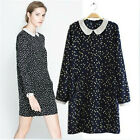 New Celebrity Vintage Polka Dot Peter Pan Collar One Piece Dress Gown S M L