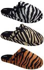Womens Fur Indoor Bedroom Soft Mule Slippers Sizes 3to 8 Brand New Animal Print
