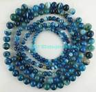 6mm 8mm 10mm 12mm 14mm Blue Stripe Agate Round Loose Beads 15""
