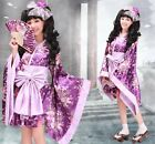 Ladies Satin Japanese Kimono Cosplay Costume Lolita Dress Tailored 1531