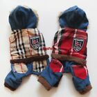 Plaid Dog Pajamas Fleece Jumpsuits Overalls Pet Apparel Dog Clothes XS S M L XL