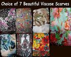 """Big 67x23.5"""" Floral Paisley Scarf shawl sarong, pareo Blue Red Gold Pink Purple"""