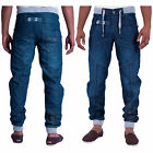 New Mens Enzo Designer Mid Wash Cuffed Jogger Style Jeans Pants Waist Size 28-42