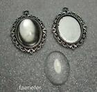 2 picture setting oval pendant frames glass domes 18 x 25 mm cabochons silver