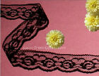 """12/24 Yards 1-1/8"""" Black Roses Scalloped Lace Trim O77V More Ships No Charge"""