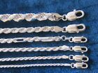 Genuine Sterling Silver Diamond-Cut Rope Chain 925 Italy 1.75mm,2mm & 3.5mm