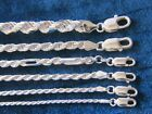 Genuine Sterling Silver Diamond Cut Rope Chain 925 Italy 1.75mm,2mm & 3.5mm