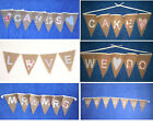 Hessian Burlap Bunting WEDDING DECORATION BANNER shabby rustic vintage chic
