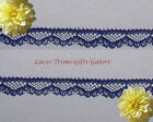"15/30 Yds Navy Lace Trim 3/8"" Delicate Scalloped J55CV Buy More-Ship No Charge"