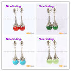 Fashion round beads Marcasite silver dangle stud hoop earring 1 pair for gift