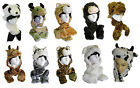 MENS WOMENS BOYS GIRLS ANIMAL NOVELTY FACE TRAPPER HAT 3 IN 1 HAT SCARF-MITTEN