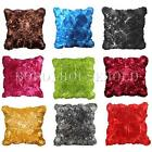 SATIN 3D FLOWER ROSE EFFECT CUSHION COVERS SOFA BED SCATTER LUXURY PILLOWCASE UK