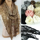 Charming Embroidery Floral Lace Shiny Sequins Ruffle Trim Shawl Thin Long Scarf