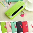 FOR IPHONE 5G 5S CHERRY LEATHER STAND FLIP WALLET CUTE COVER CASE FREE PROTECTOR