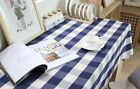 French Country Provincial Navy Blue White Big Check Gingham Table Cloth 009
