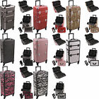 15 in. Pro 4-Wheel Rolling Hairstylist Makeup Organizer Case Aluminum HK6501