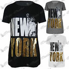 Womens Ladies Oversize Baggy New York Gold Foil Short Sleeves T Shirt Long Top