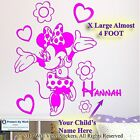 Minnie Mouse Personalised Kids Children Name Vinyl Wall Sticker Art Decal face15