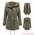 LADIES LEOPARD ANIMAL FUR HOODED WOMENS QUILTED LINED MILITARY PARKA JACKET COAT