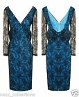 BLUE SEQUIN LACE EMBELLISHED OPEN BOW BACK BODYCON COCKTAIL MIDI DRESS SZ 8-16