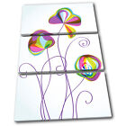Flower Abstract Floral TREBLE CANVAS WALL ART Picture Print VA