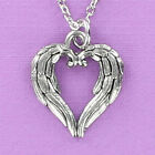 Feather Heart Pendant Pewter on Plated Cable Chain Religion Angel Wing