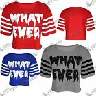 Womens Ladies What Ever Short Sleeves Stripes Baggy Cropped Cotton T Shirt Top