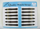 Wholesale Job Lot 12 x Leather Watch Straps Dark Brown - 8/10/12/14/16/22mm New!