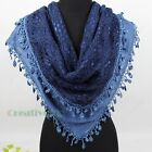 Elegant Floral Hollow Out 2-Layer Triangle Scarf Shawl Wrap Lace Trim Tassel New