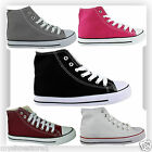 NEW WOMENS LADIES CASUAL HI HIGH TOP CANVAS LACE UP FLAT LOW TRAINERS PUMPS SHOE