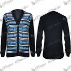 Mens Aztec Long Sleeves Sweater Front Buttons Knitted Knitwear Top Cardigan Size