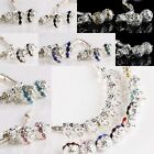 Wholesale Crystal Rhinestone 10mm Dangle Silver Ball Beads Fits Charms Bracelet