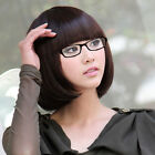 Fashion Womens Short Straight Bangs Bob Hair Full Cosplay Ladies Wig Brown/Black